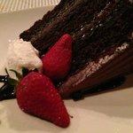 Three layered chocolate cake was good and rich