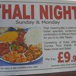 Thali nights - Sundays and Mondays