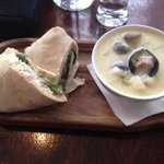 Lamb wrap & seafood chowder