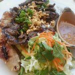 Vermicelli with spring roll (pork & shrimp) and grilled beef