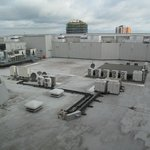 Northampton Ibis Hotel, roof of car park with AC units behind hotel