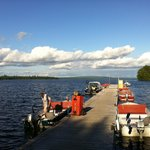 The dock lined with boats for fishing...