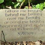 Navajo blessing on stone in garden