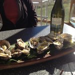 Bruny island oysters with unwooded Chardonnay and washed Rine cheese