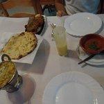 Tandoori chicken, sweet bread, veggies with pineaple, mango lassi