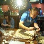 Guests and staff preparing dumplings ;)
