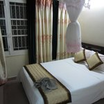 The bed which comes with mosquito net