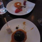 Chocolate bombe and Terrine of rhubarb and vanilla