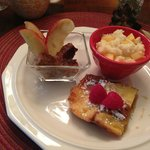 Creme Brulee French Toast with Cheese Grits & Applewood Smoked Sausages