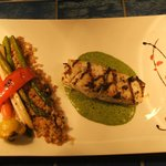 Fish in green sauce & vegetables