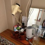kettle and hair dryer in the room
