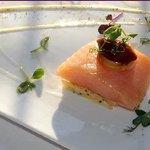 Poached Salmon, Sun Dried Tomato Mousse, Pea Shoots, Hazelnut Oil at ZaZou Bistro