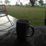 Morning coffee in silence.