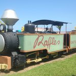 Train sitting outside Raffles
