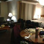 Wider view of suite -- pardon our stuff in the way