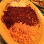 Chicken enchiladas mole.