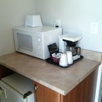 Microwave, Fridge and Coffee maker.