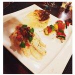 poisson brochette de légumes,gratin dauphinois