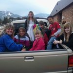 I took 5 kids in my DayCare to the YMCA of the Rockies. We are getting out of the truck to go sw