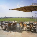 Patio with view over the polo field