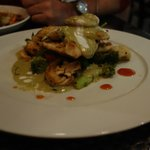 snapper and scallops in green curry