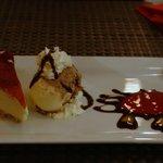 berry cheesecake, choc sorbet and amaretto coulis - yum