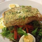 good size atlantic salmon cooked perfectly. personal opinion is the salad didnt work with it tho