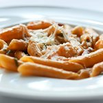 Penne Shrimps and calamari in a Cream, tomatoes and Tequila sauce