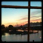 View from the window - sun set over Golden Gate Bridge