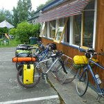 bikes from cycling guest in front of the hostel
