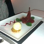 My friend's dessert - poached pears