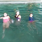 The girls in the indoor pool.