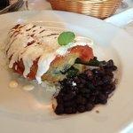 chili relleno and black beans - YUM!