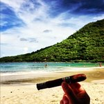 enjoying a Cuban Cigar in Anse Marcel