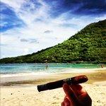 enjoying a Cuban Cigar in Anse Marcel