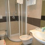 The larger than expected bathroom with stand-up shower.