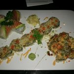 Rainbow Roll, Fried Seafood Roll, and Volcano Roll