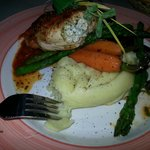 herb roasted chicken breast stuffed w/ spinach and goat cheese