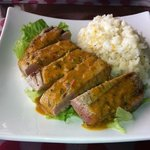 seared tuna, curried coconut sauce and sticky jasmine rice