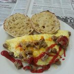 Sausage & cheese omelette, I squirted ketchup on it...