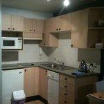 tiny kitchen functional but scarce utensils- no whizz etc