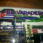 Menu at El Varadero Cuban Restaurant - Try the guac and sweet potatoes