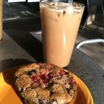 Vegan blueberry muffin and soy iced latte. Great start to the day!