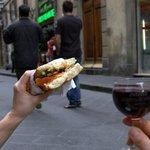 veggie sandwich y vino!