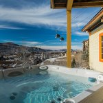 The hot tub offers a view of Steamboat and the Yampa Valley