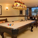 Billiards table on the lower floor
