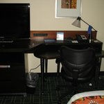 TV (which swivels btw), desk, and chair.