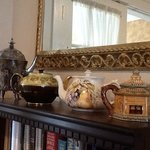 Teapots on a shelf