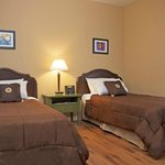 The perfect room if you are taveling with a friend! 2 comfy single beds and a modest set up.