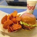 Big Turkey Burger with sweet potato waffle fries